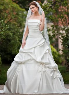 Wedding Dresses - $236.99 - Ball-Gown Strapless Cathedral Train Satin Wedding Dress With Ruffle (002000649) http://jjshouse.com/Ball-Gown-Strapless-Cathedral-Train-Satin-Wedding-Dress-With-Ruffle-002000649-g649?ver=1