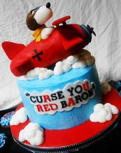 snoopy vrs red baron birthday red blue buttercream cake
