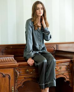 Women's Long Pyjama Set Handmade using 100% Silk by SilkandGrey