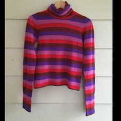 Anthropologie: MOTH cashmere sweater sz.S Final price!! Striped turtleneck in shades of red and purple. Fitted and super cute for winter:) in EXCELLENT condition Anthropologie Sweaters Cowl & Turtlenecks