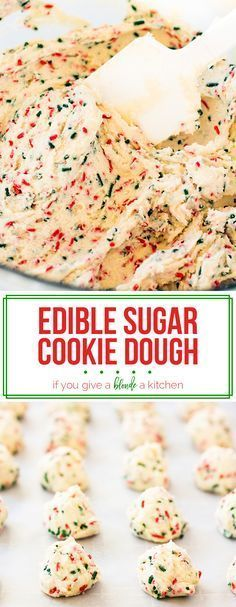 Cookie Dough Edible sugar cookie dough is a festive dessert to make for Christmas, birthdays and more celebrations! This eggless recipe uses heat-treated flour so it is safe to eat for everyone! Edible Sugar Cookie Dough, Edible Cookies, Cookie Dough Recipes, Sugar Dough, Sugar Cookie Recipe Eggless, Cookie Dough Cake Pops, Baking Cookies, Yummy Treats, Delicious Desserts