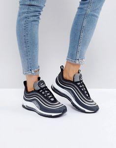 Nike Air Max 97 Ultra Trainers In Black at ASOS. Air Max 97, Mens Fashion Shoes, Sneakers Fashion, Girls Sneakers, Shoes Sneakers, Nike Air Shoes, Nike Air Max, Basket A Talon, Baskets Nike