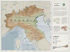 The Federal Republic of Padania (Lega Nord's vision) - imaginarymaps Fantasy Map Generator, Imaginary Maps, Multiple Images, Alternate History, Fictional World, Paradox, Sci Fi, Federal, Bielefeld