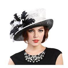 Beatnix Fashions Kentucky Derby Black White Feather Side Brim Sinamay Hat 3c0683a4270b