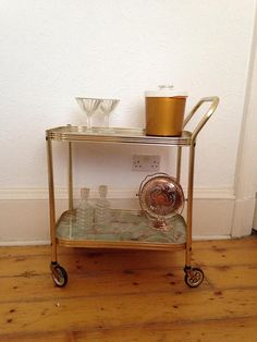 Gold Vintage Bar Cart  Sixties Retro  Madmen Style  Cocktails