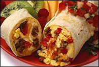 Breakfast Burrito. Add a 4 oz. can of green chili's to make it even better!