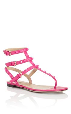 f39af380e486 Pop Fuchsia Rockstud Gladiator Thong Sandal by Valentino Now Available on  Moda Operandi Valentino Flat Sandals