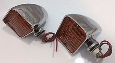 Pair Amber Turn Signal Indicator Lights Chrome Hooded Bullet Car Truck Hot Rod