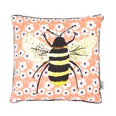 Coral floral bee cushion