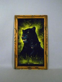 Vintage Mexican black velvet painting of mother black panther and her baby cub. Retro Art, Retro Vintage, Baby Cubs, Velvet Painting, Vintage Velvet, Panthers, Black Panther, Black Velvet, Cuba