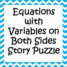 Equations with Variables on Both Sides Word Problems - Word Puzzle ...