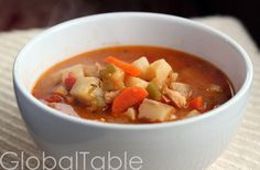 Bahamian Conch Chowder is light and brothy, not creamy like the famous New England version. Leftovers thicken slightly, due to the starches that leach out of the potatoes. I might actually prefer this chowder the next day.