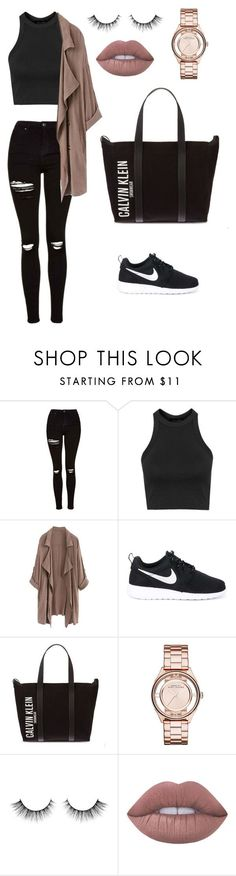 """#triptothebahamas 1. AIRPORT!"" by itsamandarose on Polyvore featuring Topshop, NIKE, Calvin Klein, Marc by Marc Jacobs and Lime Crime"