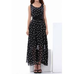Casual Style Chiffon Dotted Sleeveless Anckle-Length Women's DressVintage Dresses | RoseGal.com
