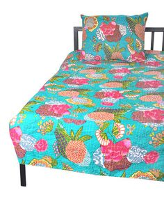 Take a look at this Turquoise J. Rally Quilt & Sham Set by Karma Living on #zulily today!