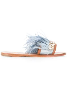 Shop Miu Miu jewelled feather detail sandals.