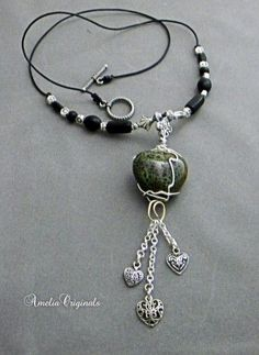 Handmade Wire Wrapped Green Ceramic