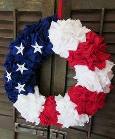 Jane felt wreath, Patriotic wreath, 18 in.