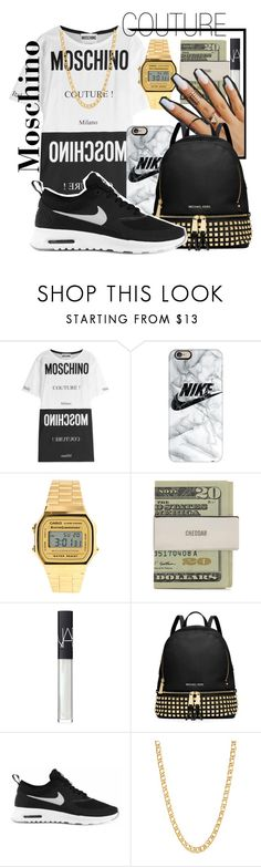 """""diamonds all through the watch & you should see the band."" -$$$✨✅💵"" by mykail2xx ❤ liked on Polyvore featuring Moschino, Casetify, Casio, NARS Cosmetics, MICHAEL Michael Kors, NIKE and Gogo Philip"