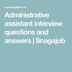 Administrative assistant interview questions can be tricky. Here are the most commonly asked questions along with how to answer them. Administrative Assistant Interview Questions, Interview Questions For Employers, Interview Questions And Answers, Job Career, Career Goals, Question And Answer, This Or That Questions, Office Administration
