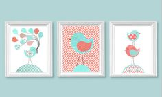 Aqua and Coral Nursery Art Birds Balloons by SweetPeaNurseryArt, $40.00