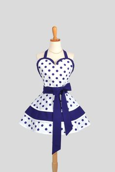 Sexy Retro Pinup Apron , Flirty and Cute Retro Women's Apron in Purple and White Dots by CreativeChics