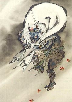 風神 河鍋暁斎 Fujin  God of the Wind by Kawanabe Kyosai
