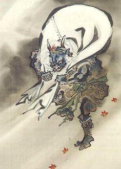 風神 河鍋暁斎 Fujin God of the Wind by Kawanabe Kyosai