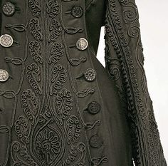 Loden Green Jacket with Soutache Scroll Detail and Silver Buttons - American c. 1880