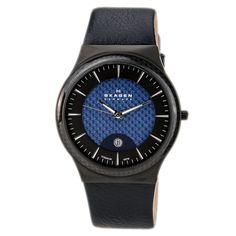 Skagen 234XXLTBLN Men's Denmark Titanium Blue Dial Blue Leather Strap Date Watch,