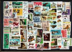 CAVALOS 100 selos temáticos diferentes - Lote 1