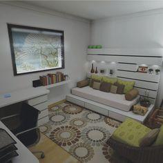 Decoração home-office e quarto de visitas