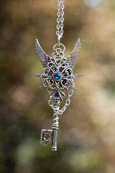 Blue Celtic Key Necklace by KeypersCove on Etsy, $32.00