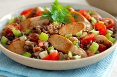 Quorn sausages with lentils Sausage casserole is a great recipe for a grey day and you don't have to use meat. Lentils and veggie sausages taste just as good with plenty of vegetables Low Fat Sausages, Quorn Recipes, Lentil Recipes, Veggie Recipes, Gourmet Recipes, Dinner Recipes, Healthy Recipes, Lentils, Kitchens
