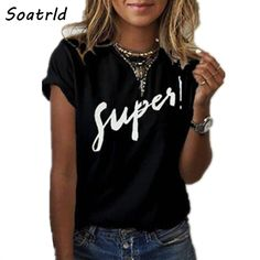 Женские Футболки — TOP GAME CLUB Casual T Shirts, Casual Outfits, T Shirt Noir, Loose Shorts, T Shirts For Women, Clothes For Women, E Bay, Fashion Prints, Blouses