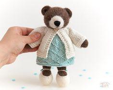 Amigurumi teddy bear toy Ella knitted stuffed plush bear animal with clothes Plush Animals, Crochet Animals, Gnome Hat, Little Cotton Rabbits, Teddy Bear Toys, Crochet Teddy, Bear Doll, Kitty, Dolls