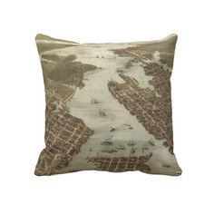 Vintage Map of Norfolk and Portsmouth VA (1873) Pillow from Zazzle.com $62.40