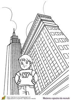 Coloriage / dessin building, gratte-ciel : maison Etats-Unis