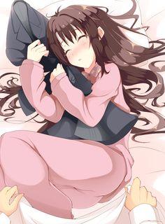 1girl brown_hair fay hair_down hug idolmaster idolmaster_cinderella_girls jacket long_hair pajamas producer_(idolmaster_cinderella_girls_anime) shimamura_uzuki sleeping solo_focus