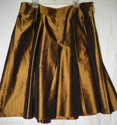 "Talbots Metallic Bronze skirt size 16WP Silk Lined 28"" long RETAIL $158.00 NWT"