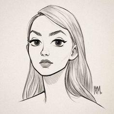 Girl Drawing Sketches, Girly Drawings, Cartoon Girl Drawing, Art Drawings Sketches Simple, Pencil Art Drawings, Cartoon Drawings, Drawing Art, Girl Face Drawing, Sketches Of Girls