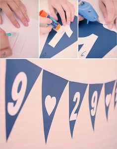 Cute photo area idea -- maybe worth putting the date on some of the flags?