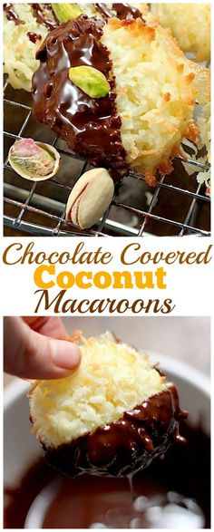 Chocolate Covered Coconut Macaroons are a delicious treat perfect for the holidays! Fun and easy to make at home. Cookie Desserts, Just Desserts, Cookie Recipes, Delicious Desserts, Dessert Recipes, Yummy Food, Healthy Desserts, Healthy Food, Profiteroles