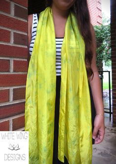 Bright Yellow silk scarf with Green dot by WhiteWingDesigns, $32.00