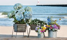 $31.50 {Cottage Gardens} Wood and Zinc Planter with Stand, Set Of 2 ~Enjoy one decor deal a day from WUSLU ~www.wuslu.com