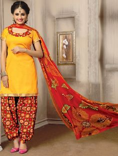 Yellow Cotton Suit with Zari Work
