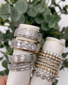 It's the perfect time to find your wedding bands OR even add to your set! 😉 ⠀ 💙: Our showrooms are sanitized and ready for you to come in and shop our wide variety of wedding bands safely!  #Weddingbands #weddingbandgoals #diamondband #gentsband #stackableband #stackablebands #whitegoldband #yellowgoldband #twotoneband #mensband #wedding Stackable Bands, Spring Home, Diamond Bands, Diamond Engagement Rings, Wedding Bands, Fine Jewelry, White Gold, Goals, Jewels