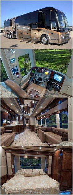 Ideas for home made camping trailer motorhome Luxury Bus, Luxury Campers, Luxury Vehicle, Luxury Houses, Luxury Travel, Luxury Motorhomes, Bus Camper, Bus Motorhome, Rv Bus