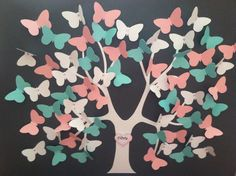 Butterfly Tree - Pink, White, Tiffany Blue  orders@paperfamilytrees.com