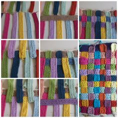 crocheted strips put together for little blanket ✿⊱╮Teresa Restegui http://www.pinterest.com/teretegui/✿⊱╮